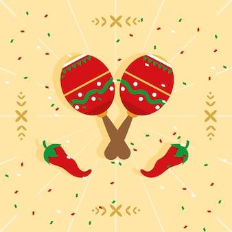 Maracas mexicanas e pimentas