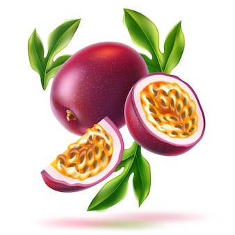 Maracujá realista com fatias de sementes e folhas verdes frutas exóticas frescas de vetor para saudável