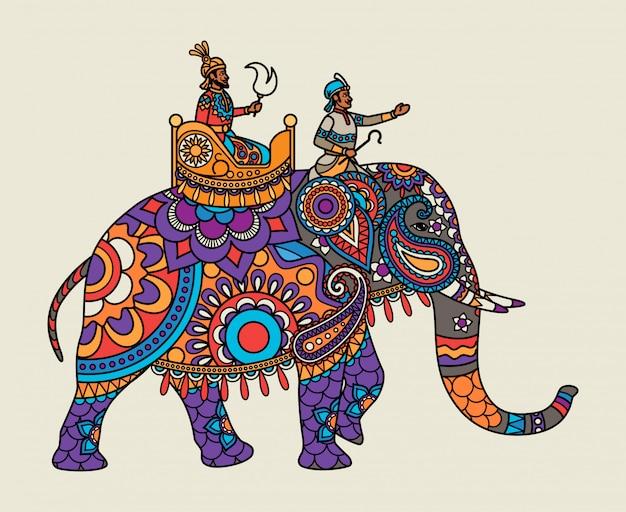 Marajá ornamentado indiano no elefante