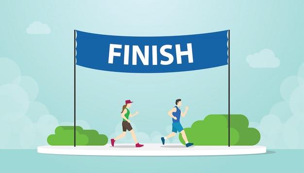 Maratona, correr com homens e mulher correndo no banner de acabamento com estilo moderno simples - vector