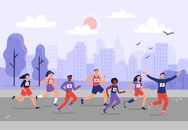 Maratona da cidade. pessoas correndo juntos, treinamento atlético e ilustração de corredores de maratonas do esporte.