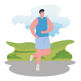 Maratona de homem correndo esportiva, competição de corrida de homem ou ilustração de corrida de maratona
