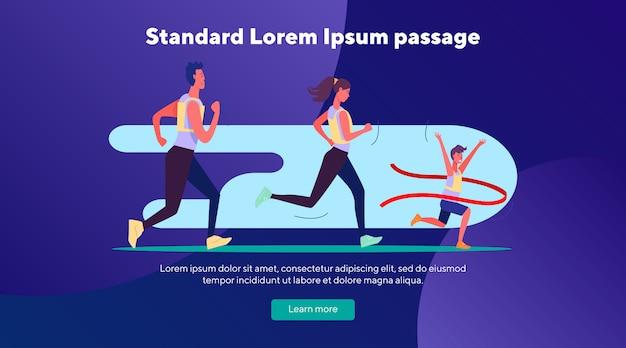 Maratona de pessoas correndo