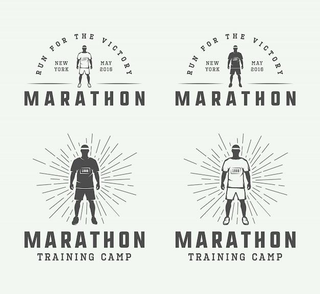 Maratona ou conjunto de logotipo de corrida