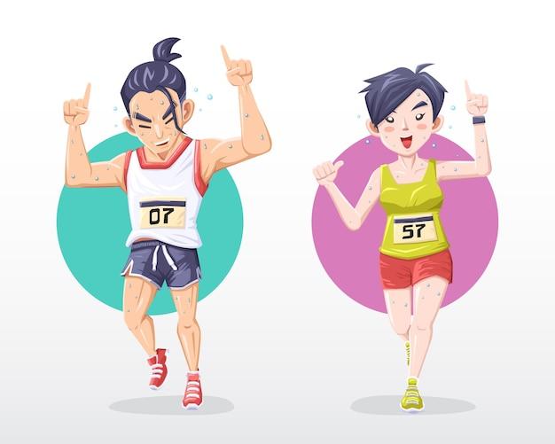 Maratonista sorridente, homem e mulher, faz o sinal número um enquanto corre