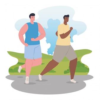 Maratonistas de homens correndo esportivos, jovens correm competição ou ilustração de corrida de maratona