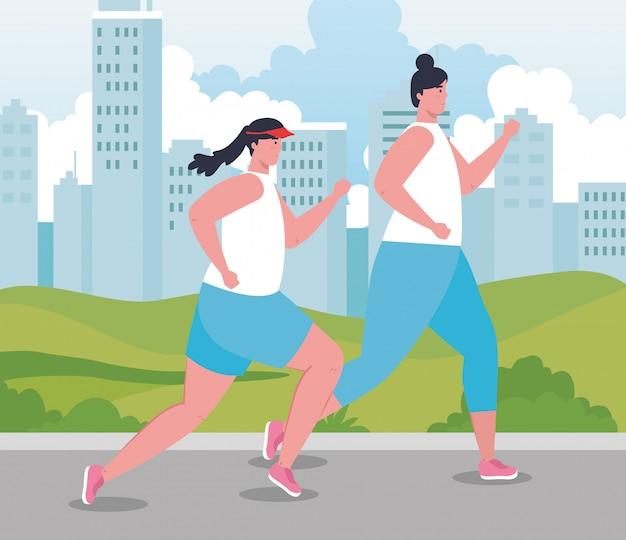 Maratonistas de mulheres correndo esportiva, jovem fêmea executar competição ou ilustração de corrida de maratona