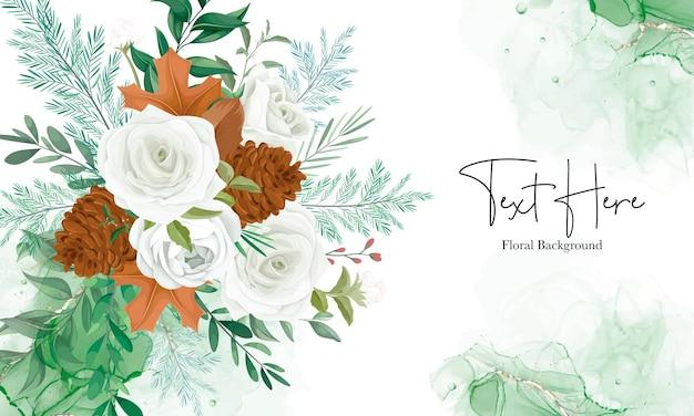 Maravilhoso fundo floral com rosa branca e flor de pinheiro