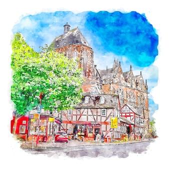 Marburg alemanha ilustração de desenho em aquarela de mão desenhada