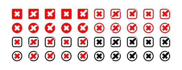 Marca cruzada. coleção de ícones do vetor de sinais cruzados. ícones de negócios. cruzes isoladas.