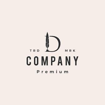 Marca da letra d, caneta de pena hipster modelo de logotipo vintage