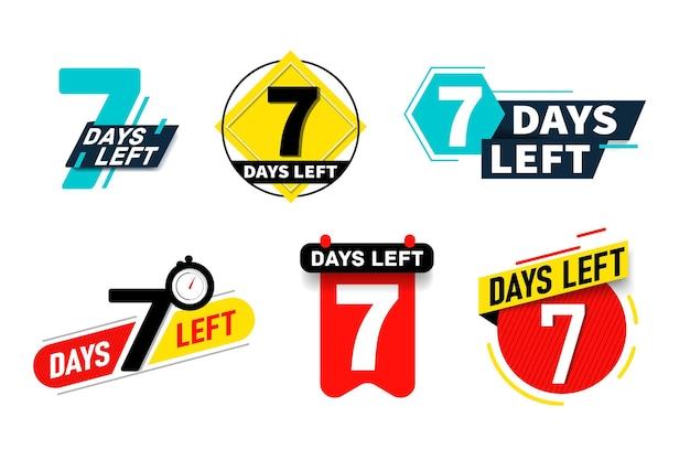 Marca de anúncio esquerda de sete dias, adesivo, conjunto de marcadores. contagem regressiva de tempo para parada de venda, última oferta, redução de preço ou ilustração em vetor final de compras com desconto isolada no fundo branco