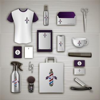 Marca de barbearia. kit de ferramentas do barbeiro. produto para o cabelo. tesoura e secador de cabelo.