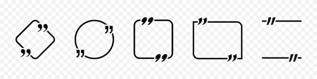 Marca de citação com moldura. quadro de citação de vetor para texto. coleção de citações de mensagens de texto. modelo de citações em branco. ilustração vetorial