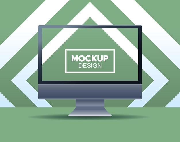 Marca de computador desktop com ilustração em moldura quadrada