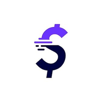 Marca de dólar, traço, dinheiro, tecnologia, digital, rápido, entrega, movimento, logotipo roxo, vetorial, ícone, illustration