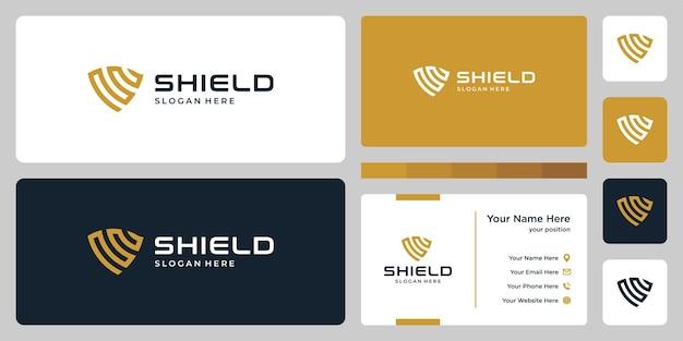 Marca de escudo abstrata e cartão de visita do modelo de design.