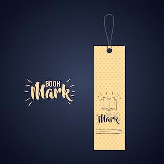 Marca de etiqueta de marcador com o ícone de livro. Leitura da decoração do guia e tema da literatura. Desi colorido
