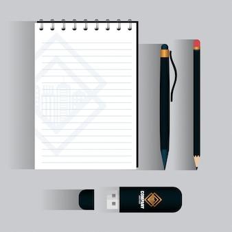 Marca de identidade corporativa, conjunto de papelaria comercial, preto com símbolo dourado