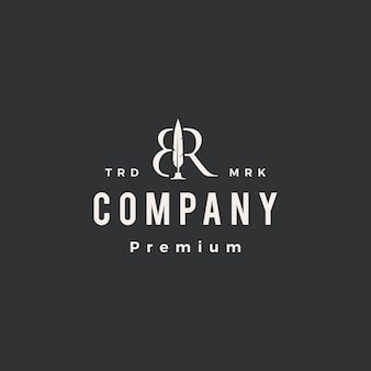 Marca de letra br caneta de pena hipster modelo de logotipo vintage