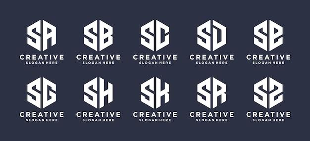 Marca de letra s de forma de hexágono com outro design de logotipo.