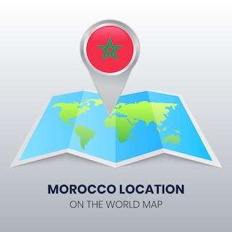 Marca de localização de marrocos no mapa do mundo