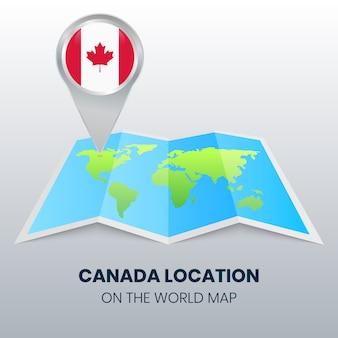 Marca de localização do canadá no mapa do mundo