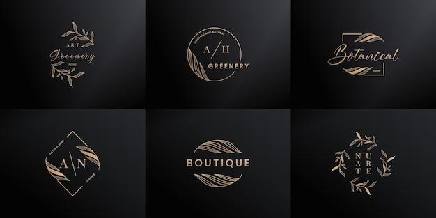 Marca de logotipo de luxo. desenho de logotipo de carta da natureza desenhada à mão