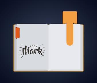Marca de rótulo de marcador e ícone de livro. Leitura da decoração do guia e tema da literatura. Desig colorido