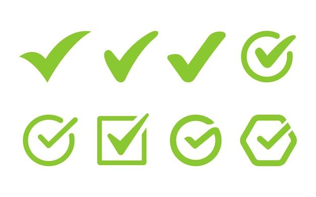 Marca de seleção ou coleção de botões de ícones de seleção
