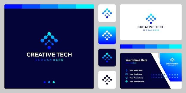Marca de seta do logotipo com estilo de tecnologia e cor gradiente. cartão de visitas.