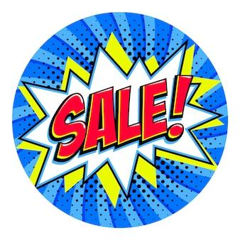 Marca de venda de forma redonda. forma de estrondo de estilo pop-art em quadrinhos sobre fundo azul torcido azul