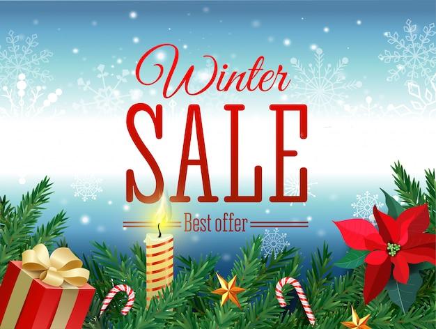 Marca de venda de inverno. a etiqueta vermelha da venda que pendura na neve branca do inverno lasca-se fundo para a promoção de varejo sazonal. ilustração vetorial