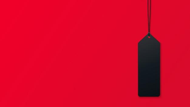 Marca de venda sobre fundo vermelho. 3d realista