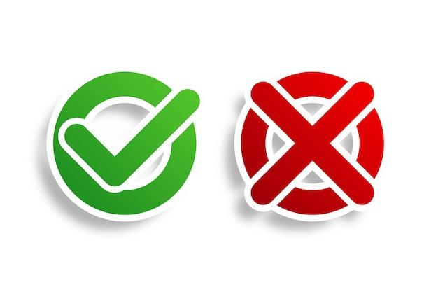 Marca de verificação circular e botão de marcação cruzada