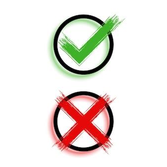 Marca de verificação de estilo grunge e design de símbolo de cruz