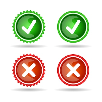 Marca de verificação e conjunto de ícones de distintivo de linha verde e vermelho