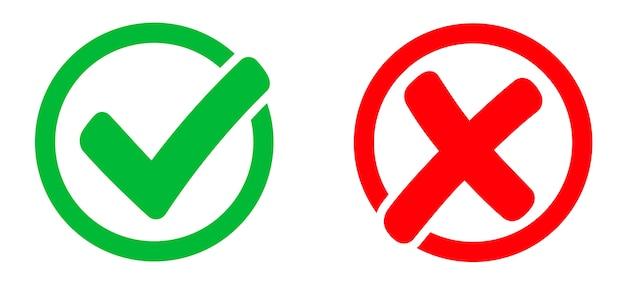 Marca de verificação e ícone de marca x.