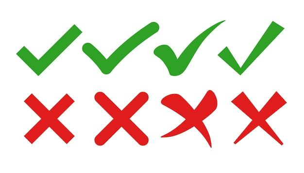 Marca de verificação e símbolos de cruz em estilos planos
