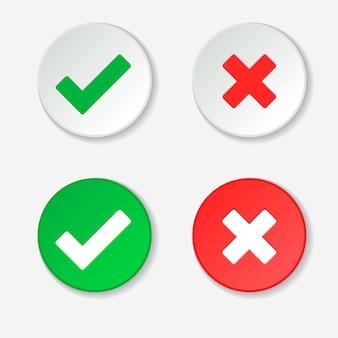Marca de verificação green tick e cruz vermelha dos símbolos de círculo aprovados e rejeitados