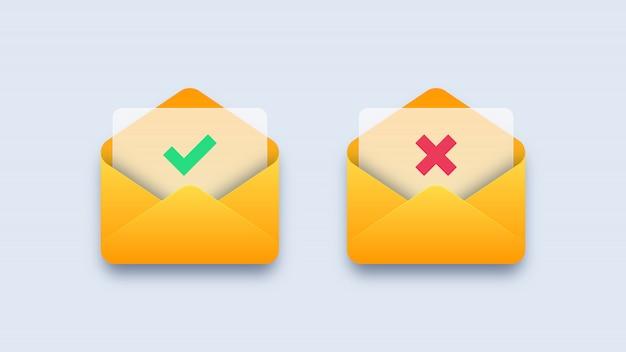 Marca de verificação verde e cruz vermelha em envelopes de correio