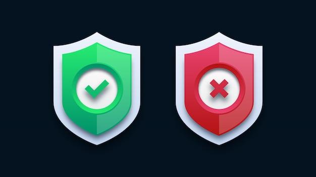 Marca de verificação verde e cruz vermelha no escudo