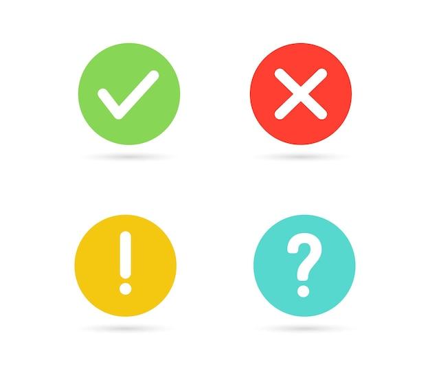 Marca de verificação verde e ícone de cruz vermelha marca de exclamação botão de interrogação