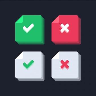 Marca de verificação verde e ilustração de ícones da cruz vermelha