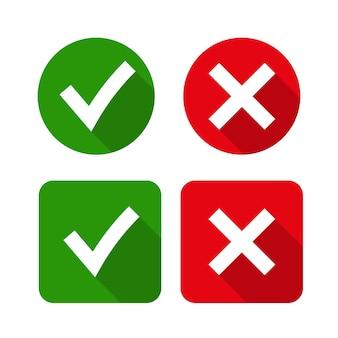 Marca de verificação verde ok e ícones x vermelhos,