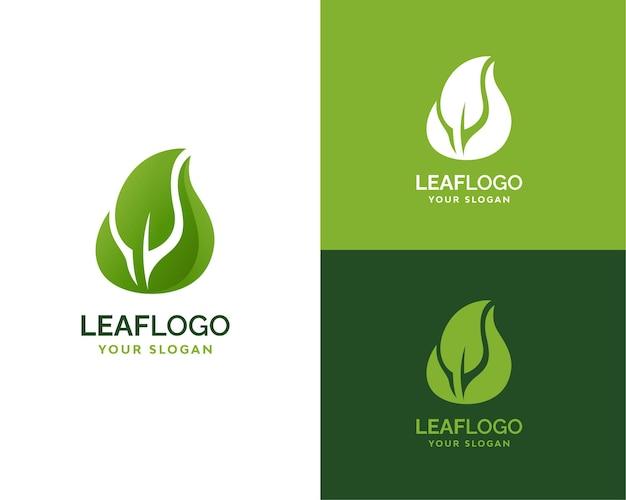 Marca do logotipo da folha verde