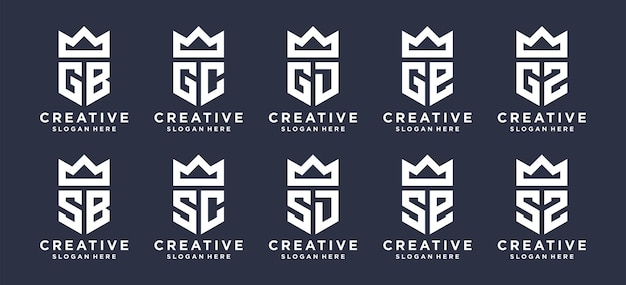 Marca do monograma com design do logotipo da coroa. o logotipo pode ser usado para logotipo inicial pessoal, logotipo inicial de casal, logotipo inicial da empresa.