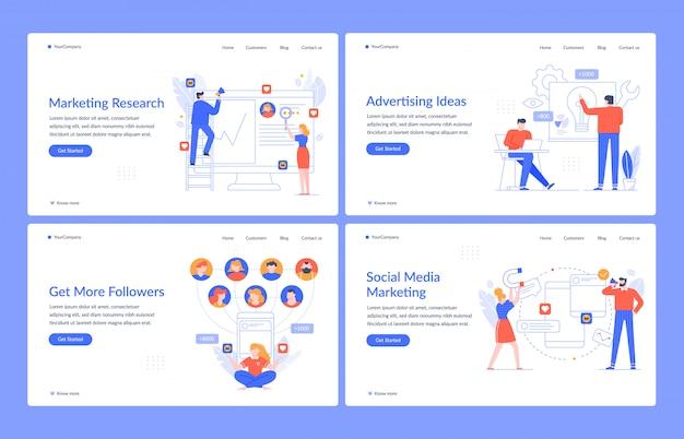 Marca do site. marketing digital, tecnologia de navegação e modelo de página de destino de mídia social. layout da interface da página inicial do site consultivo. pesquisa, publicidade, desenvolvimento web
