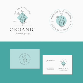 Marca floral. modelo de logotipo botânico elegante, mão desenhada, folha.