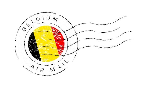 Marca postal da bélgica. selo da bandeira nacional isolado na ilustração vetorial de fundo branco. carimbo com o padrão oficial da bandeira do país e o nome do país